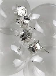 clear glass 3in ornaments silver tops 80mm
