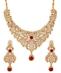 bridal jewelry necklace sets images Buy touchstone indian bollywood red faux rubies white rhinestones jpg