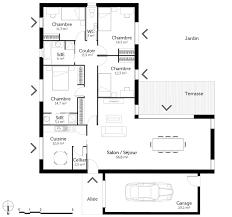 plan de maison de plain pied avec 4 chambres maison 4 chambres impressionnant plan maison plain pied en l avec 4