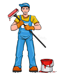 Paint Man | man with paint roller stock vector illustration of cheerful
