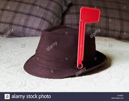 Mailbox Flag Fedora On Bed With Mailbox Alert Flag Attached To Hat Stock Photo