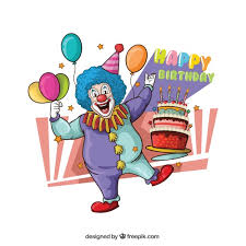 wedding invitation clown birthday greeting card vector show clowns illustration of clown with cake vector free