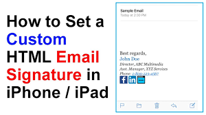 how to set a custom html email signature in iphone ipad tutorial