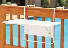 vidaxl deck table foldable acacia wood balcony railing hanging