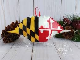 Calvert County Flag Maryland Flag Crab Shell Christmas Ornament Maryland Flag