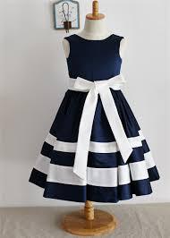 a line navy blue ivory satin stripes flower dress with bow sash