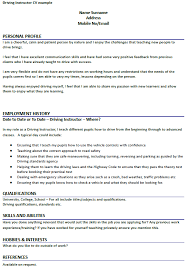 Hobbies And Interests On Resume Examples by Driving Instructor Cv Example Forums Learnist Org