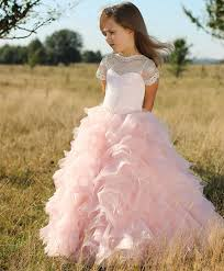 beautiful white lace pink tulle short sleeves flower girls dresses