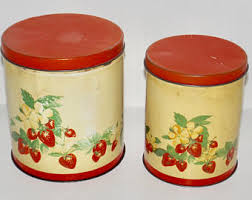 tin kitchen canisters nesting canister set etsy