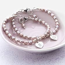 pearl bracelet with silver charm images Girls personalised silver charm and hope pearl bracelet by jpg