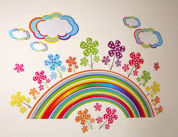 rainbow flower large wall stickers for girls bedroom or rainbow flower large wall stickers for girls bedroom or childrens playroom kids stickarounds approx size example size of rainbow sticker 67cm x