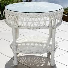 white wicker end table everglades white resin wicker patio end table by lakeview outdoor