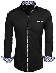 hotouch mens fashion slim fit contrast long sleeve casual button