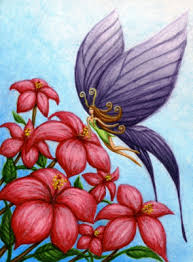 folk paintings beautiful lavender colored butterfly
