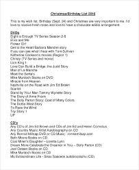 birthday gift list templates 4 free pdf documents free