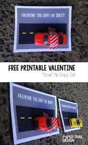 free printable car valentine card paper trail design
