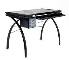 Glass Top Drafting Drawing Table Amazon Com Studio Designs 10072 Futura Craft Station Black Clear