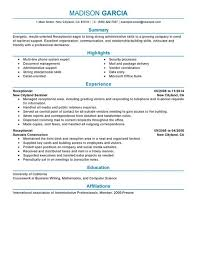 Summary For Resume Example by Receptionist Resume Examples Berathen Com