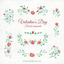 watercolor valentines day floral ornaments vector premium