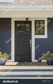 closed black front door white surrounding stock photo 246049081
