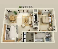appartement 1 chambre 50 plans en 3d d appartement avec 1 chambres large bathrooms