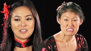japanese american women try on geisha halloween costumes youtube