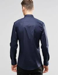 hugo boss outlet hugo by boss smart shirt in navy stretch slim