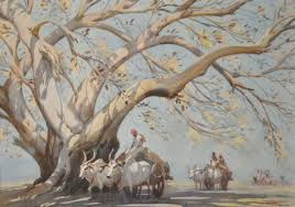 indian cart indian influences g d paulraj cart convoy with large tree