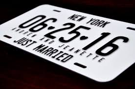 personalized wedding plate gift personalized license plate just married mr mrs