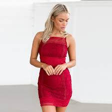 online get cheap red sleeveless lace bodycon bandage dress mini