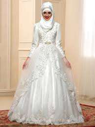 islamic wedding dresses sequins appliques gown muslim wedding dress with