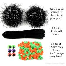 Halloween Craft Kits For Kids by Big Black Spider Pom Pom Kit Set Of 2 Fun Diy Halloween Crafts