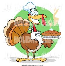 clip of a thanksgiving turkey bird holding a pie by hit
