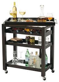 695166 howard miller black coffee portable mirrored wine rack bar