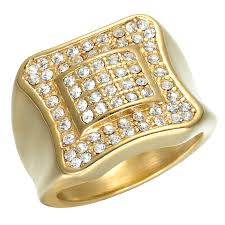 men big rings images Iced out pinky ring gold tone micro pave rectangle men big bling jpg