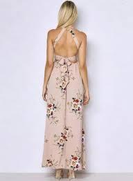 halter neck halter neck floral print maxi dress oasap