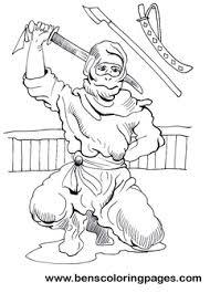 ninja warrior coloring pages kids