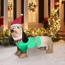 Outdoor Christmas Blow Up Decorations Clearance by Airblown Inflatable 5 U0027 Dachshund Christmas Prop Walmart Com