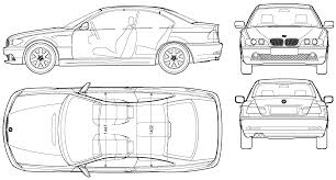 Car Plan View 2004 Bmw 3 Series E46 Coupe Blueprints Free Outlines
