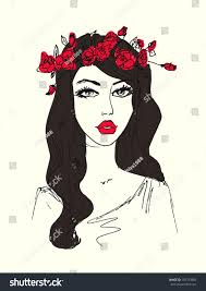 sketch woman flowers her hair stock illustration 183373985