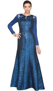 royal blue long sleeve modest formal muslim evening dress gown