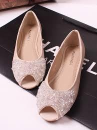princess luxury rhinestone beaded flat fashion open toe flat heel