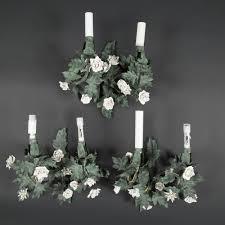 candelieri in ferro battuto tre candelabri ferro battuto lamiera e porcellana expertissim
