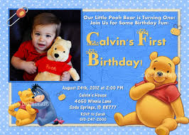 winnie the pooh first birthday invitation blue photo option