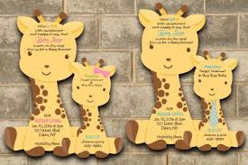giraffe themed baby shower 40 die cut giraffe baby shower invitations giraffes theme ebay