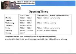 adelaide centre doctors surgery opening times and what to