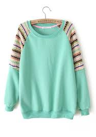 mint green color mint green color block collarless cotton blend pullover