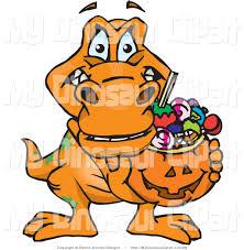 halloween basket clipart of a trick or treating t rex dinosaur holding a pumpkin