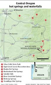 map of oregon springs warm up with springs cool with waterfalls in oregon