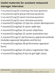 Resume Template For Restaurant Top 8 Assistant Restaurant Manager Resume Samples